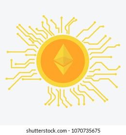 Etherium icon, cryptocurrency concept with chip flat design