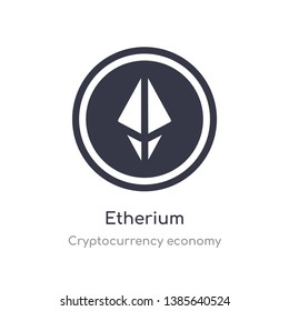 etherium icon. isolated etherium icon vector illustration from cryptocurrency economy collection. editable sing symbol can be use for web site and mobile app