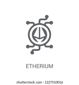 etherium icon. Trendy etherium logo concept on white background from Cryptocurrency economy and finance collection. Suitable for use on web apps, mobile apps and print media.