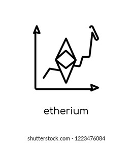 etherium icon. Trendy modern flat linear vector etherium icon on white background from thin line Cryptocurrency economy and finance collection, editable outline stroke vector illustration
