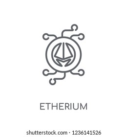 etherium linear icon. Modern outline etherium logo concept on white background from Cryptocurrency economy and finance collection. Suitable for use on web apps, mobile apps and print media.