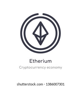 etherium outline icon. isolated line vector illustration from cryptocurrency economy collection. editable thin stroke etherium icon on white background