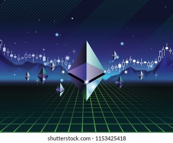 Etherium trading in 80s style concept vector illustration. 80s background. Cryptocurrency etherium on dark neon 3D background. etherium price fluctuation. Candle stick graph chart of etherium price.