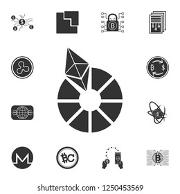 Etherium vector icon. Crypto currency set icons