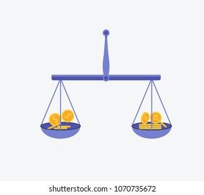 Etherium vs dollar vector concept with balance scales. Cryptocurrency illustration. Flat design vector illustration