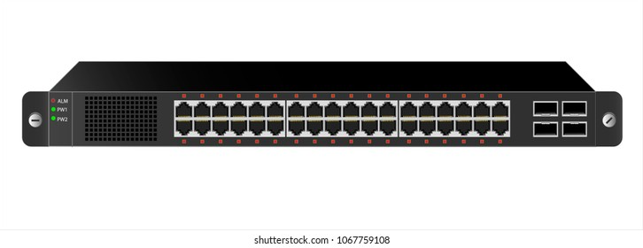 The Ethernet 1U switch for mounting with a 19-inch rack with 40 ports, including four backbones. The color of the switch is black. Vector illustration.