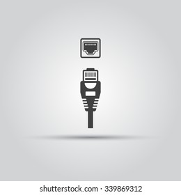 Ethernet cable and port isolated vector black icon, network socket icon, ethernet connector icon