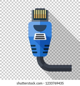Ethernet connector icon in flat style with long shadow on transparent background