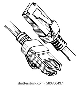 cat5 images stock photos vectors shutterstock RJ 45 Cable ethernet connector rj45 internet cable in sketch style vector illustration