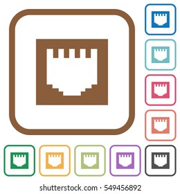 Flat Ethernet Connector Icon Set On Stock Vector (Royalty Free ...