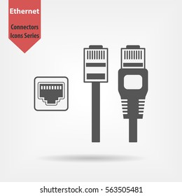 Ethernet connectors and socket with cable symbol for download. Vector icons for video, mobile apps, Web sites and print projects.