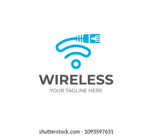Ethernet cord and wifi sign logo template. Network cable and wi fi symbol vector design. LAN cable and internet provider logotype