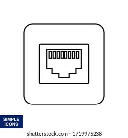 Ethernet, flat port network icon. Vector illustration.