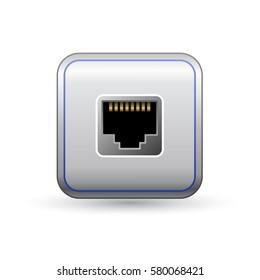 Ethernet socket icon. Network ethernet port. Symbol of network access. Vector illustration