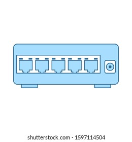 Ethernet Switch Icon. Thin Line With Blue Fill Design. Vector Illustration.