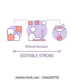 Ethical decision concept icon. Moral problem solving idea thin line illustration. Business ethics. Conflict, issue resolving. Moral choice making. Vector isolated outline drawing. Editable stroke