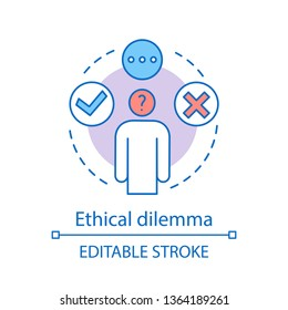 Ethical dilemma concept icon. Ethical issue idea thin line illustration. Moral problem, choice, decision making. Conflict resolving. Moral reasoning. Vector isolated outline drawing. Editable stroke