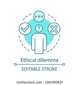 Ethical dilemma concept icon. Moral issue idea thin line illustration. Ethical problem, choice. Decision making. Conflict resolving. Moral reasoning. Vector isolated outline drawing. Editable stroke