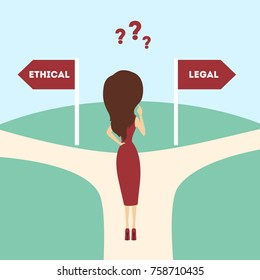 Ethical or legal choice making. Woman on the road with question marks.