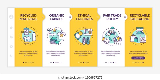 Ethical manufacturer onboarding vector template. Recycled material. Fair trade policy. Recyclable packaging. Responsive mobile website with icons. Webpage walkthrough step screens. RGB color concept