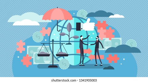 Ethical marketing vector illustration. Flat tiny responsible persons concept. Symbolic, honest and fair sustainable standard business. Moral method for company commerce. Environment friendly ideology.