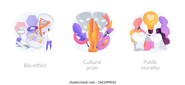 Ethical and medical issues metaphors. Bioethics, cultural prize, public morality. Philosophy and life science. Human and nature problems abstract concept vector illustration set.