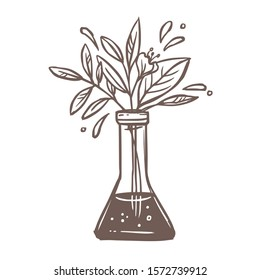 Ethical science vector symbol. Chemical glass flask with  flower bouquet, plants, foliage and leaves. Laboratory pharmaceutical, medical and biological experience logo concept. Sketch illustration