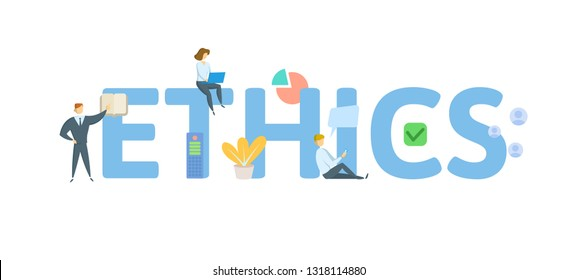 ETHICS. Concept with people, letters and icons. Colored flat vector illustration. Isolated on white background.
