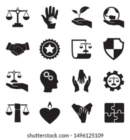 Ethics Icons. Black Flat Design. Vector Illustration.