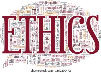 Ethics vector illustration word cloud isolated on a white background.