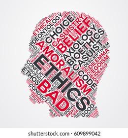 ethics word cloud head typography