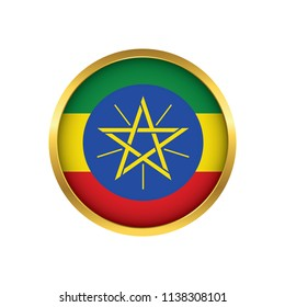 Ethiopia flag button, Golden on a white background,flag of Ethiopia Round badge or icon isolated. Vector illustration.