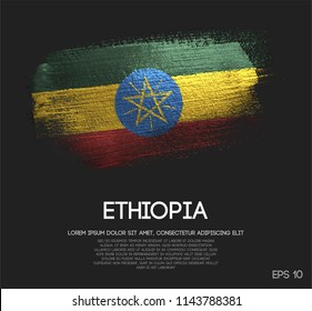 Ethiopia Flag Made of Glitter Sparkle Brush Paint Vector