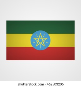 Ethiopia flag on a gray background. Vector illustration