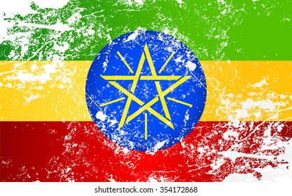 Ethiopia Grunge Texture Flag. Grunge effect can be cleaned easily.