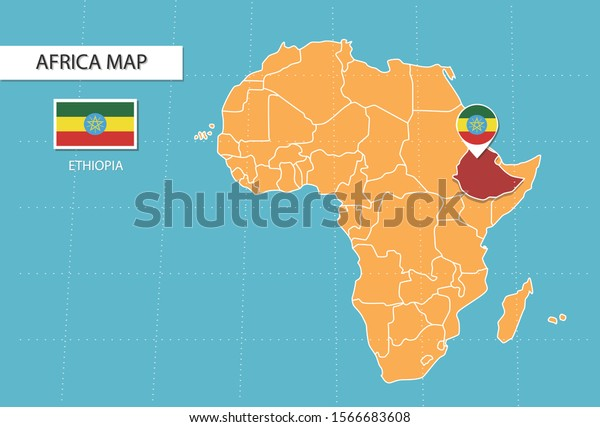 Ethiopia Location On Africa Map.Ethiopia Map Africa Icons Showing Ethiopia Stock Vector