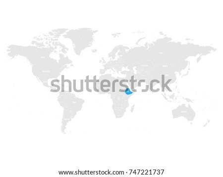 Ethiopia Marked By Blue Grey World Stock Vector (Royalty Free ...