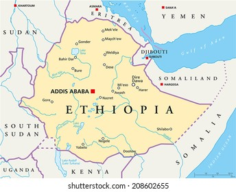 Ethiopia Political Map - Political map of Ethiopia with capital Addis Ababa, national borders, most important cities, rivers and lakes. Vector illustration with English labeling and scaling.