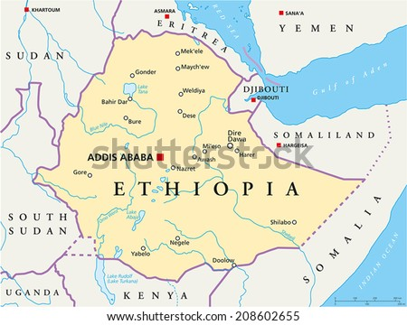 Ethiopia Political Map Political Map Ethiopia Stock Vector (Royalty ...