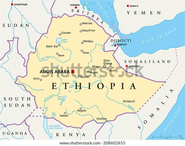 Etiopia Poliittinen Kartta Poliittinen Kartta Arkistovektori