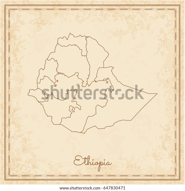 Ethiopia Region Map Stilyzed Old Pirate Stock Vector