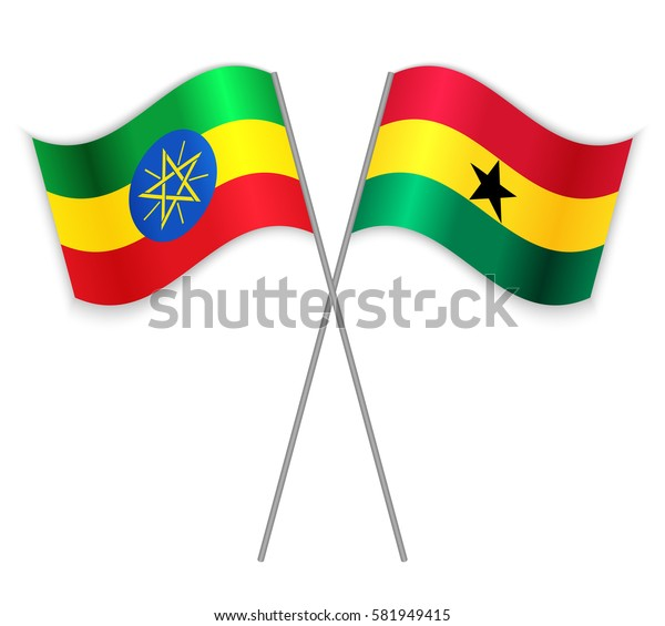 Ethiopian and Ghanaian crossed flags. Ethiopia combined with Ghana isolated on white. Language learning, international business or travel concept.