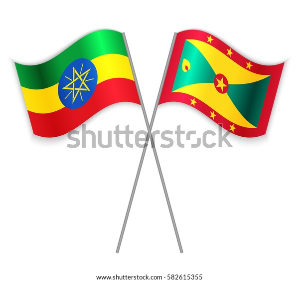 Ethiopian and Grenadian crossed flags. Ethiopia combined with Grenada isolated on white. Language learning, international business or travel concept.