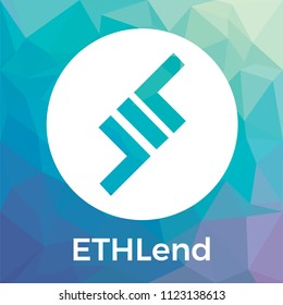 ETHLend (LEND) vector logo. Decentralized and secure financial marketplace for peer to peer lending agreements using Blockchain and Smart Contracts and ETHLend crypto currency