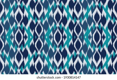 Ethnic Abstract Blue color. Seamless pattern in tribal, folk embroidery, and Mexican style. Aztec geometric art ornament print.Design for carpet, wallpaper, clothing, wrapping, fabric, cover, textile