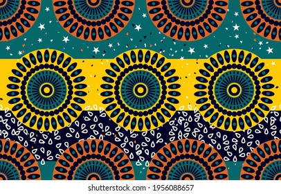 Ethnic abstract fabric. Seamless pattern in tribal, African wax print kitenge floral motifs vector. Aztec geometric art ornament.Design for carpet, wallpaper, clothing, wrapping, fabric, cover, dress