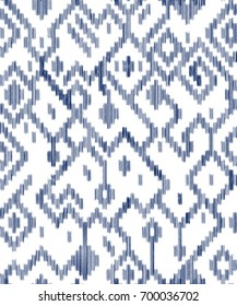 Ethnic abstract geometric ikat worn out pattern in blue and white, vector