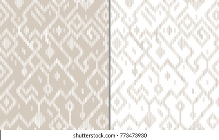 Ethnic abstract geometric ikat worn out pattern in grey and white, vector