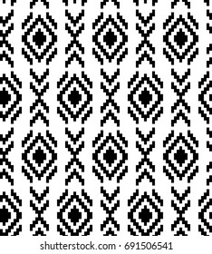 Ethnic abstract geometric pattern in black and white, vector