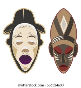 Ethnic African masks. Vector illustration